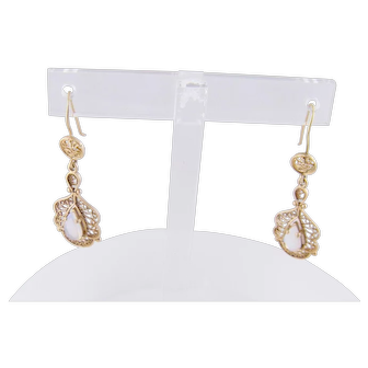 Antique 14 Kt Gold with Tear Drop Opals EARRINGS