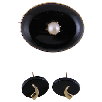 2 Pc Antique Art Deco 14 Kt Gold BLACK ONYX Brooch and Earrings