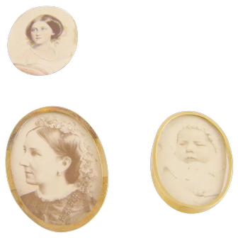 3 ANTIQUE MINIATURE Portraits Queen Charlotte and Prince Charles of Belgium in 14 kt Gold