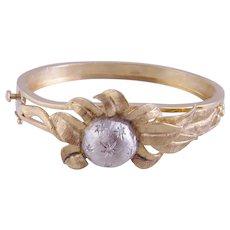 Charming 14 Karat Gold with Diamonds in Stars SUNFLOWER BRACELET