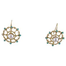 Vintage 14 Karat Gold with PERSIAN TURQUOISE and  Vintage Pearls Open Weave Roundel Hook EARRINGS