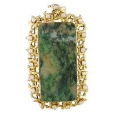 Antique 14 Kt Gold Seed Pearl Encrusted Green Hardstone Pendant   Weighs 23.6 Grams