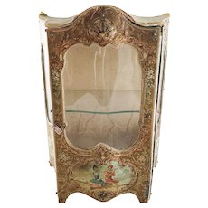 Antique French Brevette Miniature Raised Decoration and Curved Glass VITRINE