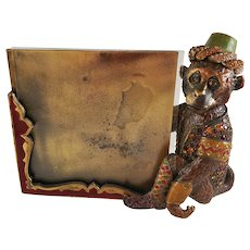 Charming Bejeweled Monkey in Cap enamel Picture Frame by JAY STRONGWATER