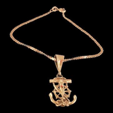 Vintage 14 Karat Gold Mariner Christ on Anchor Charm Pendant on GOLD BRACELET