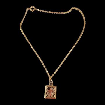 Vintage 14 Karat Gold PRAYER BOOK Charm Locket on 10 Karat Gold Chain