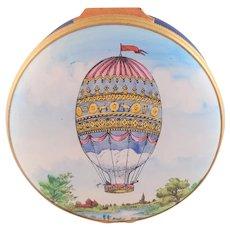 Vintage Halcyon Days Enamel Montgolfiere BALLOON BOX