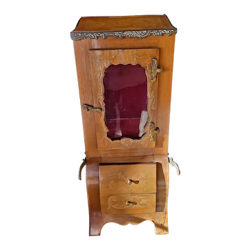 Antique French Marquetry with Inlay and  Bronze Handles Doll Size  with Drawer  SEDAN CHAIR