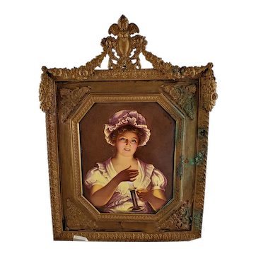 """Antique Austrian Porcelain Painting """"GOOD NIGHT"""" Woman with Candle in Bronze Frame Miniature Portrait"""