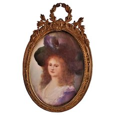 Antique American Miniature Portrait of a Beautiful Woman by KATHRYN POLACK