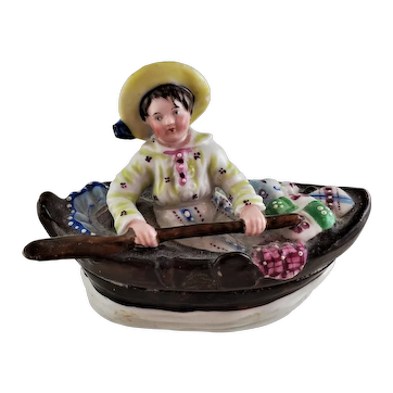 Antique Staffordshire English FAIRING of a Boy in a Row Boat Miniature Box