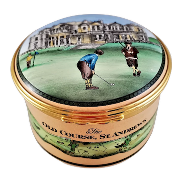Superb Halcyon Days Enamel The Old Course ST ANDREWS Golf Box