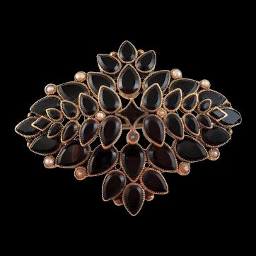 Antique ART DECO 14 Karat Gold Black Onyx and Seed Pearls Brooch PENDANT