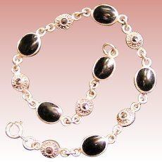 Sterling, Marcasite and Onyx bracelet