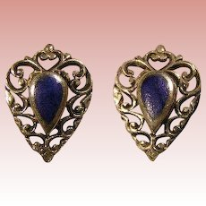 Sterling Silver & Lapis Lazuli Elegant pierced earrings - vintage