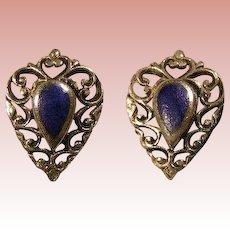 Sterling Silver & Lapis Lazuli Elegant pierced earrings - vintage