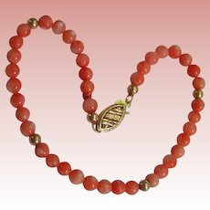 Coral and Gold Bracelet; Pinks, Oranges, Creams