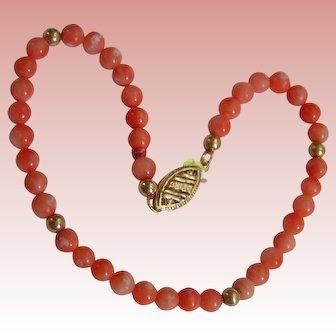 Coral and Gold Bracelet; Pinks, Oranges, Creams