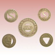 Municipal Transit tokens; five American cities