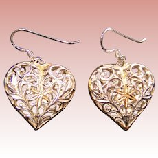 Sterling Heart Earrings; unusual open work