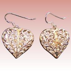 Sterling Heart Earrings; unusual open work