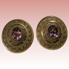 Sterling / Amethyst Pierced Earrings