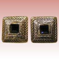 Silver & blue Geometric Earrings