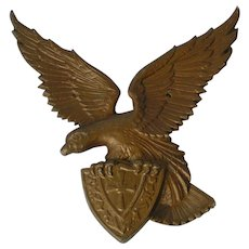 American Eagle with fraternal Crest; metal cast sculpture