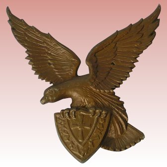 Cast Metal Eagle with Heraldic Crest