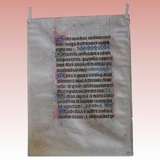 Illuminated Medieval Manuscript Psalter; Flanders