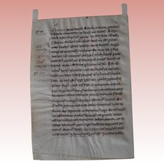 Medieval Manuscript leaf; Pope Gregory Homilies; 13th Century Italian