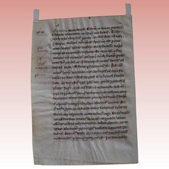 Medieval Manuscript leaf; Pope Gregory Homilies; 13th Century Italian