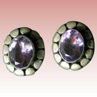 Amethyst in Sterling pierced earrings