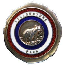 Yellowstone Park Grizzly Bear Sterling pin