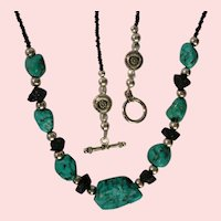 Turquoise Dramatic design Necklace, 35 inches, 1980's
