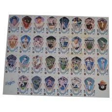 LA Dodger Record Breakers uncut sheet card set -- Rare