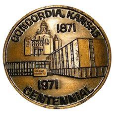 Concordia Kansas Centennial Medallion; 1871-1971
