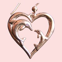 Sterling Hearts and Dolphins; Kabana dangle earrings