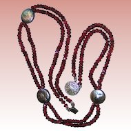 Elegant facet-cut Crystal, Abalone, Sterling choker style necklace