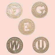 Municipal Transit tokens; five American cities