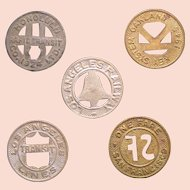 Municipal Transit tokens (5); four American cities