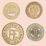 Municipal Transit tokens; four American cities
