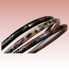 Cloisonné bangle bracelet set of three