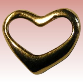 14K Gold Open Heart Charm