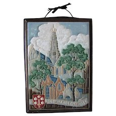 Delft 700 year Haarlem celebration tile plaque; 1945