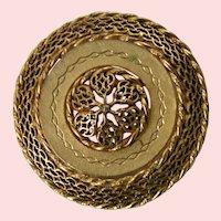 Pastelli Filigree Etched goldtone pin