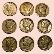 Mercury dimes 1940's circulated lot of 9