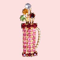 Bejeweled Golf Bag Bouquet pin