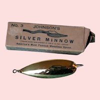 Johnson's Silver Minnow No. 3 with box; 24 Kt gold plated