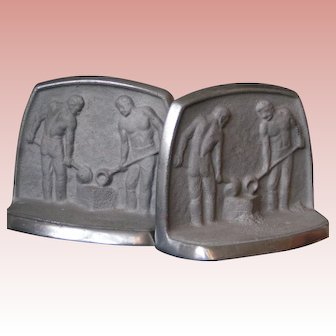 Industrial Workers Tribute Bookends; cast aluminum, mid-century